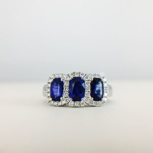 Bennion Jewelers has many rings with blue and silver stones