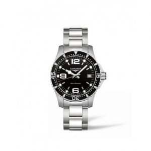 Black and silver Longines watch