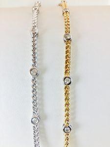 Bezel set diamond bracelets