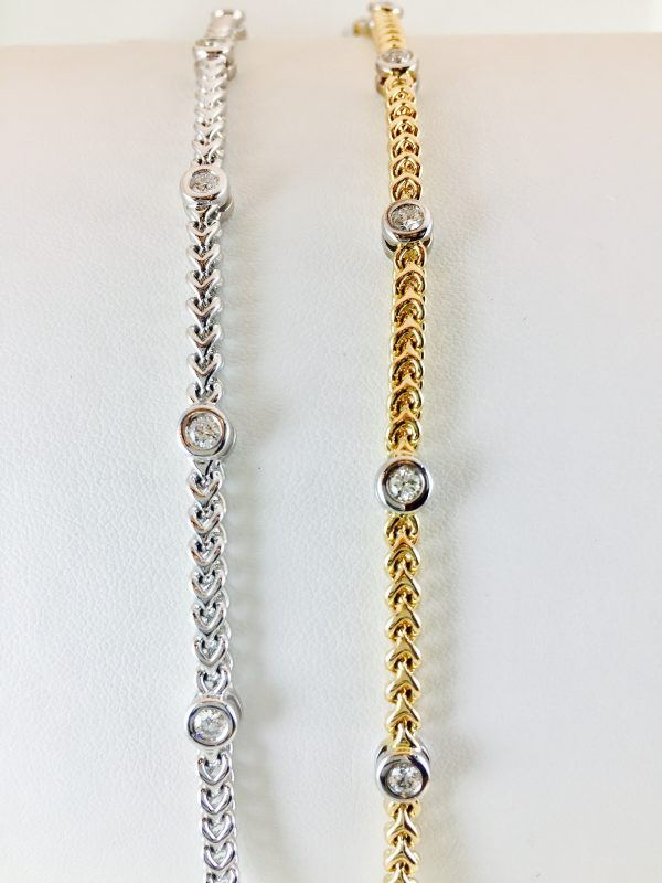 Bezel set diamond bracelets