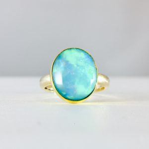 yellow gold - 14k -bezel set - opal ring