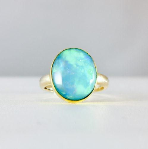 yellow gold - 14k -bezel set - opal ring