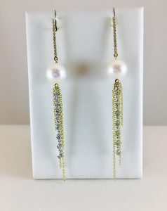 dangle earrings - pearl and diamond