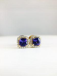 Earrings - Tanzanite with Diamond Halo