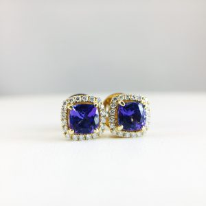 Earrings - Tanzanite with Diamond Halo