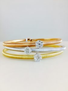 diamond cluster bangels - metal options