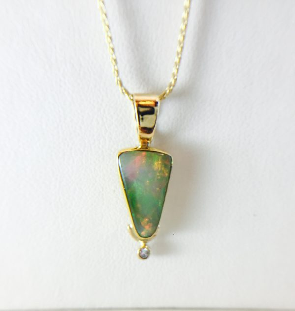 opal pendant necklace with diamond