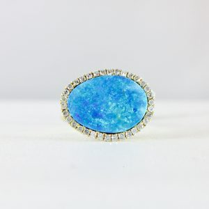 Opal slab ring from Bennion Jewelers - diamond halo