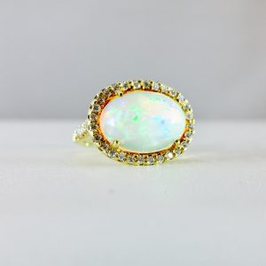 opal ring with diamond halo - 14k