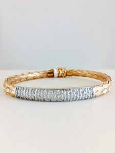 rose gold - woven bracelet - pave diamonds
