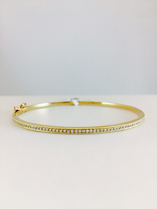 yellow gold - diamond bangle