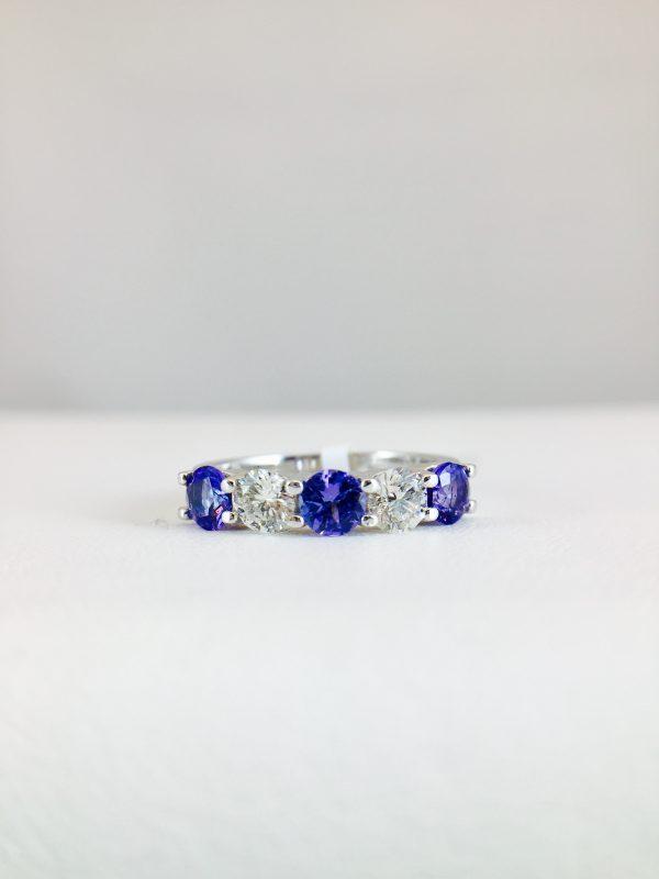 Diamond and Tanzanite ring