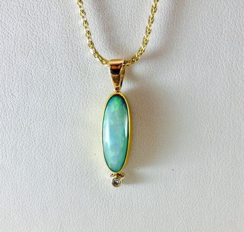 Diamond and stone pendant