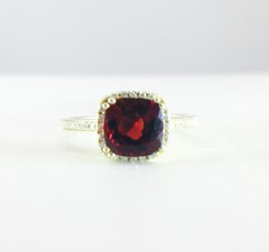 Garnet ring with diamonds - Bennion Jewelers