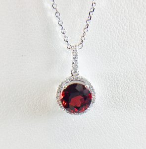 Bennion Jewelers Pendant - garnet and diamond
