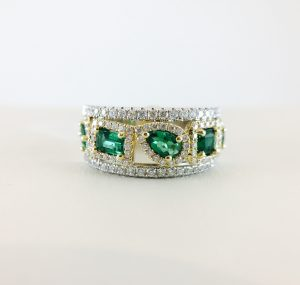 Two-tone diamond and emerald band