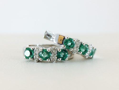 Bennion Jewelers - Huggy emerald and diamond