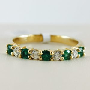 Anniversary Bands from Bennion Jewelers - Emerald and Diamond