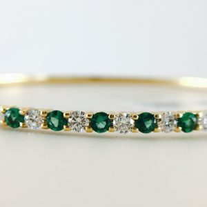 Bangle - emerald and diamond