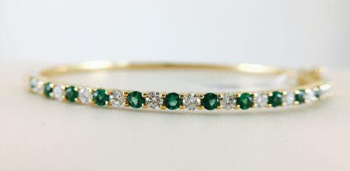 Bangle - emerald and diamond