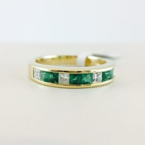 Anniversary Band - Channel Emerald and Diamond
