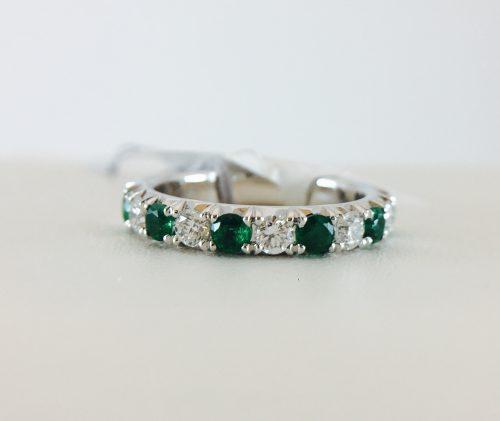 Anniversary Band - Emerald and Diamonds