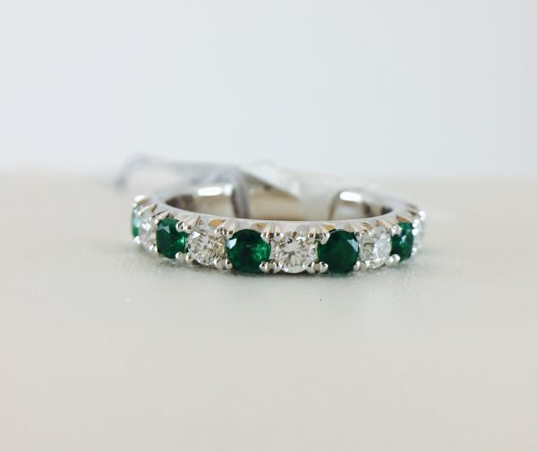Anniversary Band - Emerald and Diamonds