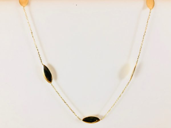 Oval disc - gold necklace