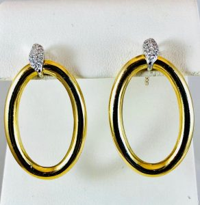 Pave gold oval earrings