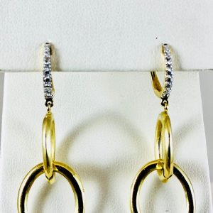 Dangle oval earrings with diamonds - Bennion Jewelers