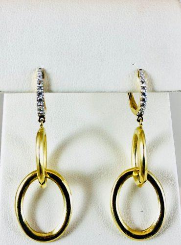 Dangle oval earrings with diamonds - Bennion Jewelers