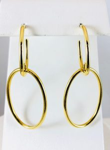 Double oval earrings - gold