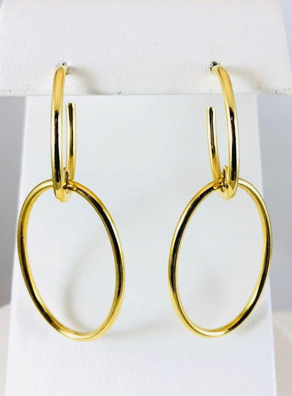 Double oval earrings - gold