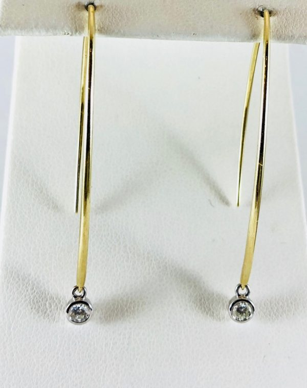 Long drop earrings - gold - diamond