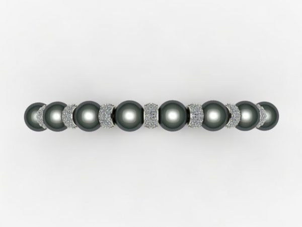 Diamond pave and tahitian pearl - white gold bangle