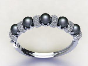 Tahiyian pearl and diamond pave white gold bangle