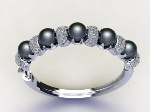 Tahiyian pearl and diamond pave white gold bangle