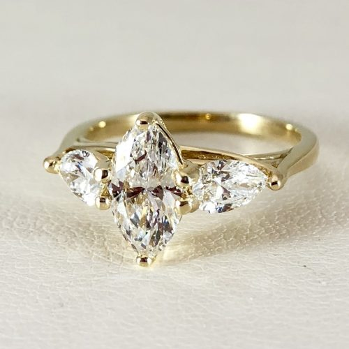 Marquise and pear ring