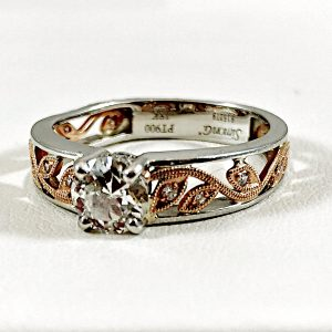 White & Rose Gold wine engagement ring form Simon G