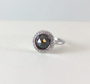 halo diamond ring with black stone