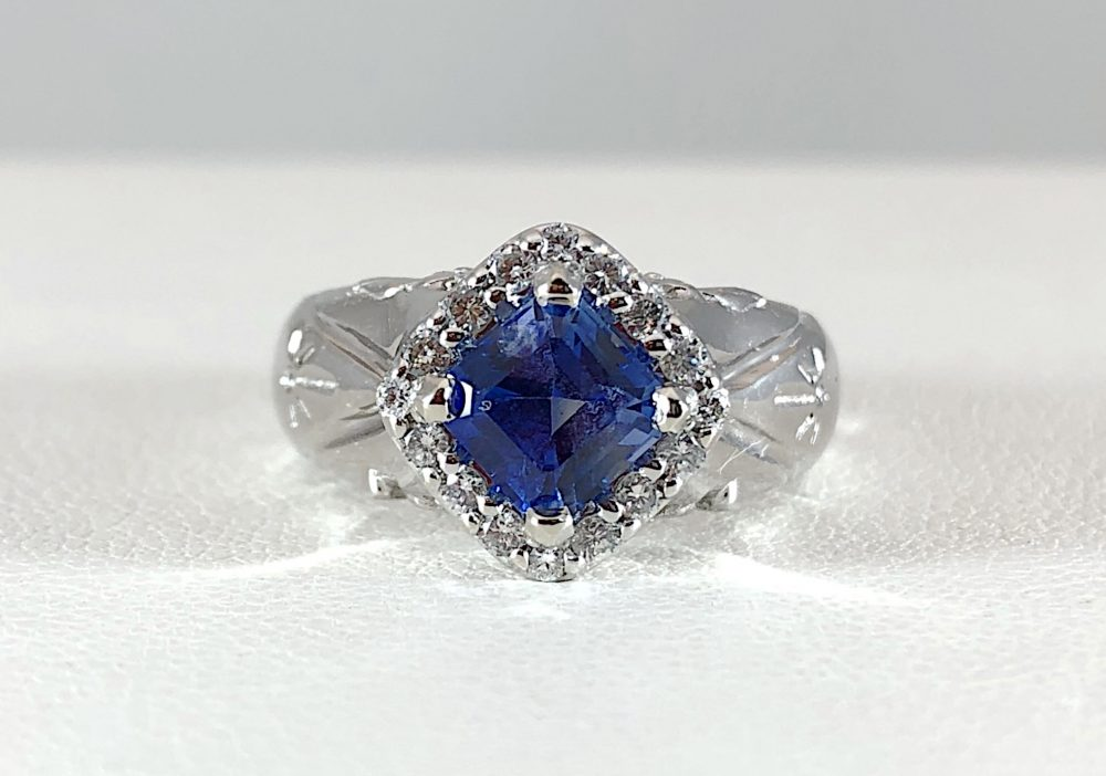 Sapphire and diamond halo