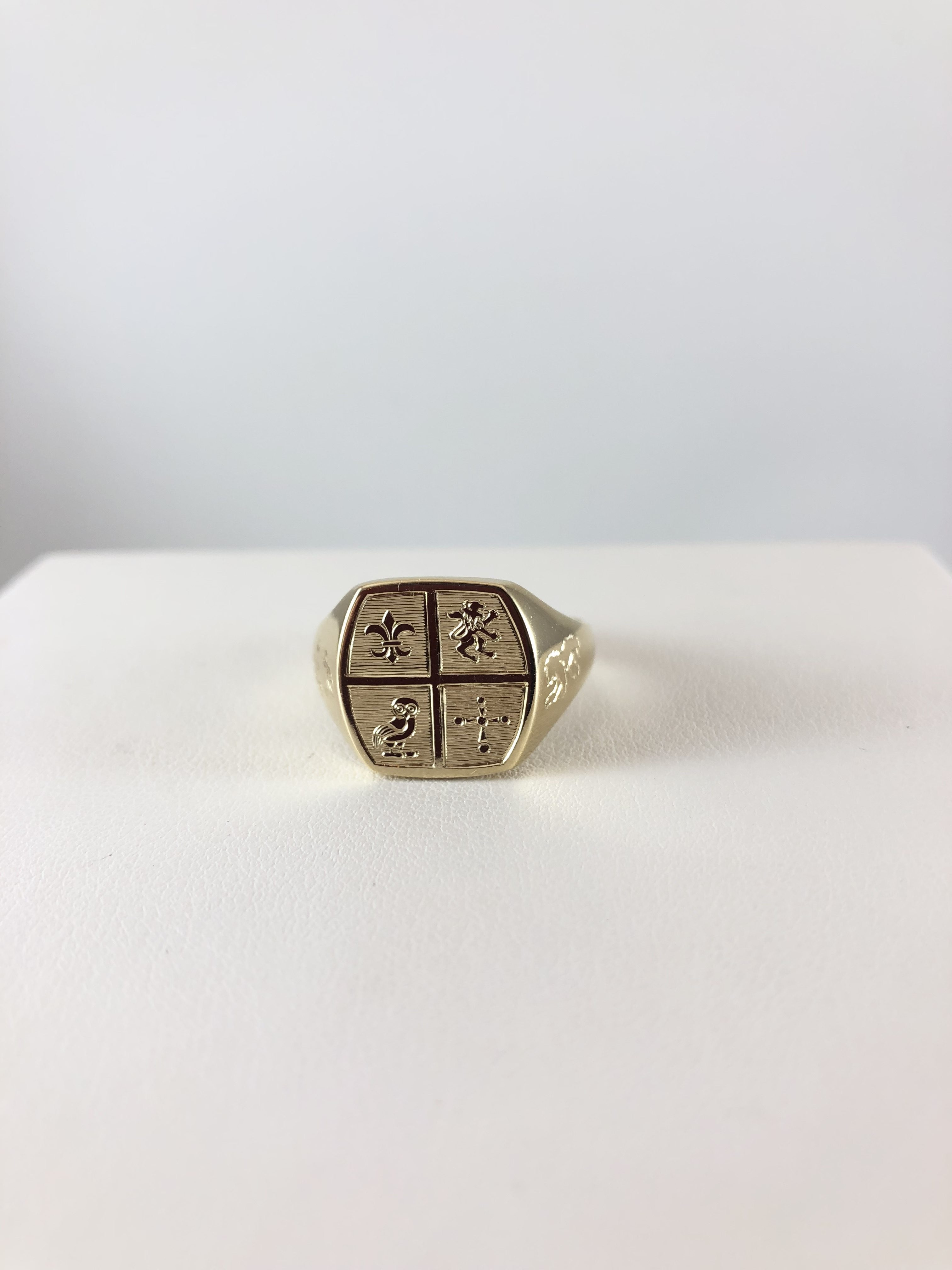 93fb33bf36a38 14k Yellow Gold Custom Engraved Mens Signet Ring | Bennion Jewelers